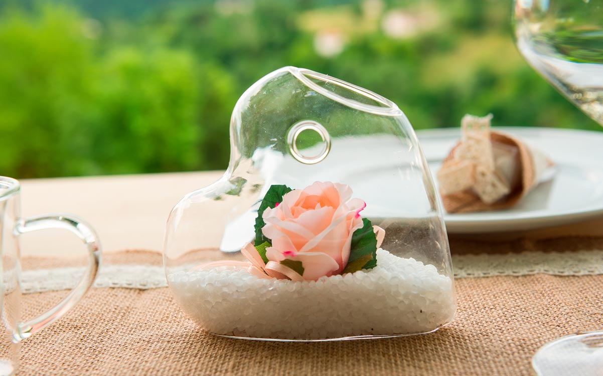 Glass for the table of the Romantic Wedding Sugared Almond Buffet