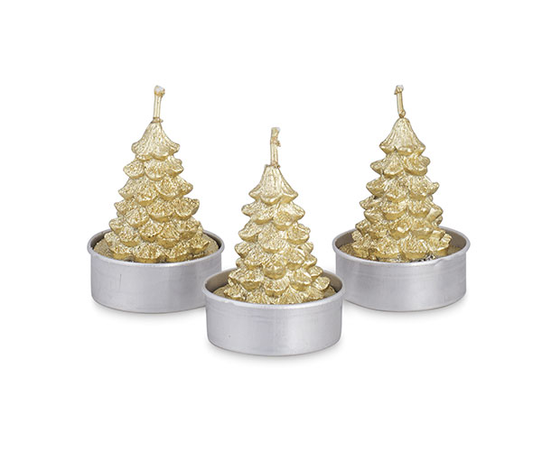 SET. 6 T-LIGHT ALBERO ORO