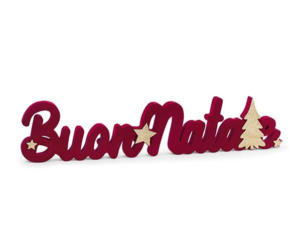 """""""BUON NATALE"""" ROSSO FLOCCATO"""