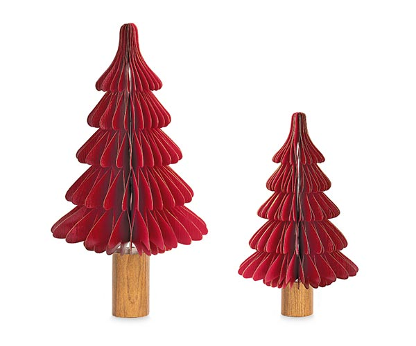 SET. 2 ALBERI CARTA BORDEAUX CON TRONCO